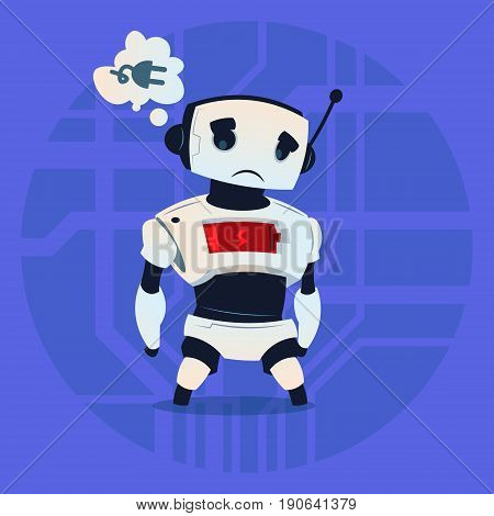Cute Robot Tired Low Battery Charge Modern Artificial Intelligence Technology Concept Flat Vector Illustration