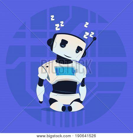 Cute Robot Sleeping Modern Artificial Intelligence Technology Concept Flat Vector Illustration