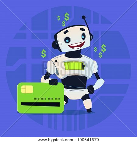 Cute Robot Hold Credit Card Mobile Payment Online Shopping Modern Artificial Intelligence Technology Concept Flat Vector Illustration