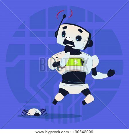 Cute Robot Scared Modern Artificial Intelligence Technology Concept Flat Vector Illustration