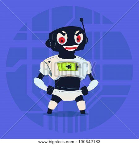 Cute Robot Wear Ninja Mask Modern Artificial Intelligence Technology Concept Flat Vector Illustration