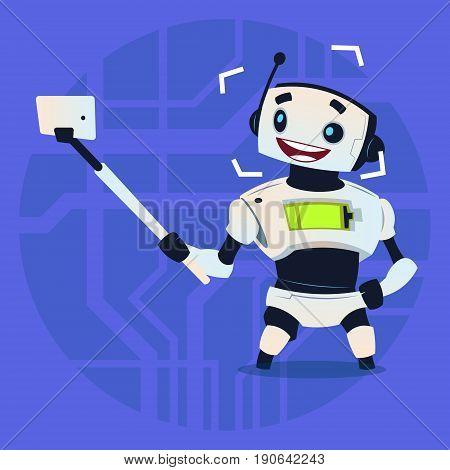 Cute Robot Taking Selfie Photo Modern Artificial Intelligence Technology Concept Flat Vector Illustration