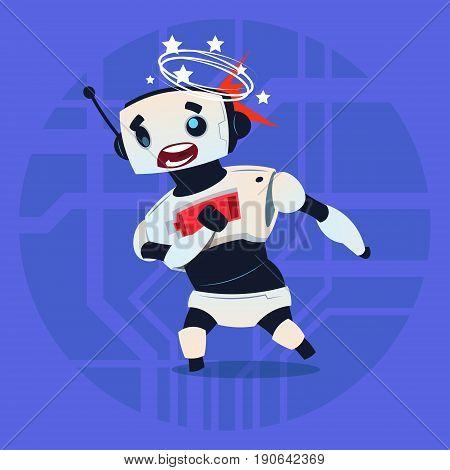 Cute Robot Dizzy Error Broken Modern Artificial Intelligence Technology Concept Flat Vector Illustration