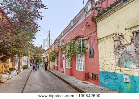 Cartagena, Colombia- March 2, 2017: Colorful houses in the old town Cartagena Colombia
