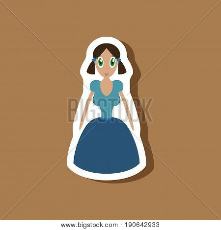 paper sticker on stylish background doll in dress