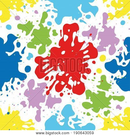 Colorful ink splatters and drops seamless pattern artistic vector background.