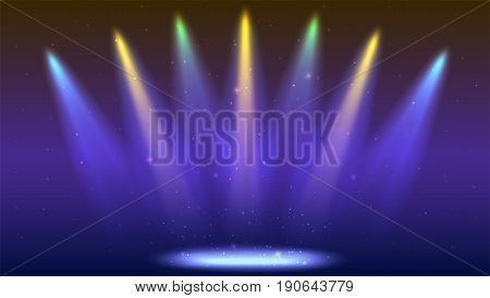 Background with rays of light from the colored spotlights. Bright lighting with coloring spotlights, projector. Shined scene, illumination effects on dark backdrop.