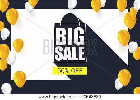 Big sale shopping bag silhouette with long shadow. Selling banner, discount fifty percent on a yellow button backdrop with white and yellow flying inflatable balloons. Horizontal black background.