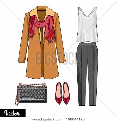 Lady fashion set of autumn,spring winter season outfit.  Illustration stylish and trendy clothing. Fashion boutique poster.  A set of stylish, elegant clothes for a business woman.