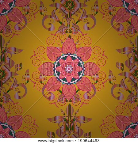 Varicolored vector seamless illustration. Tropical seamless pattern with many pink abstract flowers.