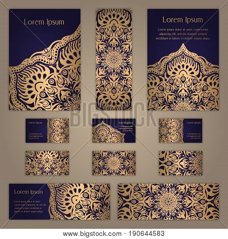 Templates Set With Business Cards, Invitations And Banners. Floral Mandala Pattern And Ornaments. Or