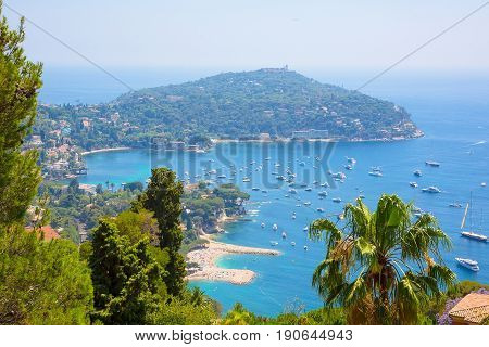 Beautiful Top View of bay Cote d'Azur. Luxury resort Villefranche-sur-Mer on French Riviera at Mediterranean Sea. Amazing Summer Landscape. Europe. France.