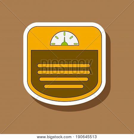paper sticker on stylish background Sports scales