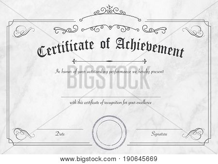 Retro Certificate Of Achievement Paper Template With Modern White Marble Textured