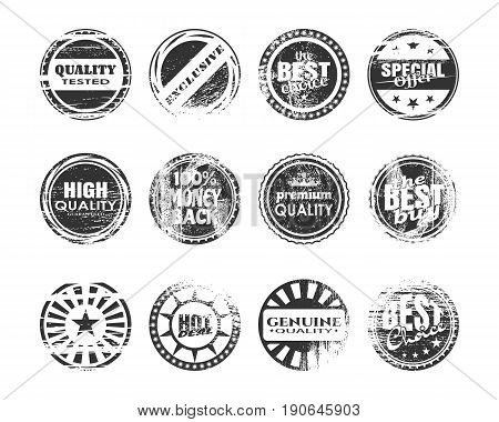Stamps and stickers icons set. Kit collection of graphic design elements. Vector illustration. Distressed grunge texture