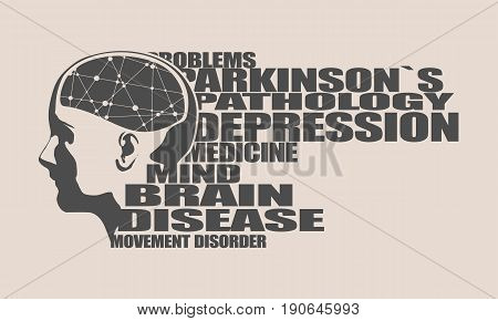 Abstract illustration of a human head with brain. Woman face silhouette. Medical theme creative concept. Connected lines with dots. Parkinsons syndrome disease tags cloud