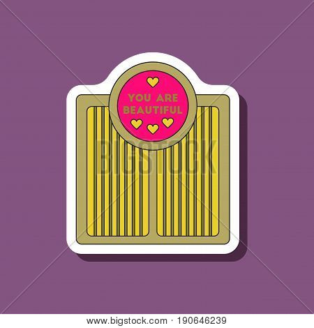 paper sticker on stylish background Electronic floor scales