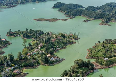 Aerial view of Guatape in Antioquia land and islands Colombia