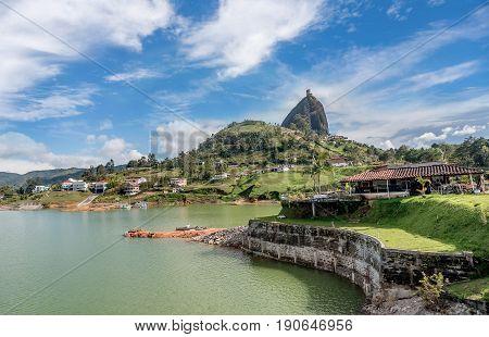 Guatape, Colombia- March 6, 2017: Rock of Guatape Piedra de Penol Colombia