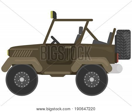 Car for Hunter vector illustration in flat style. Offroad for travel and recreation isolated on white.