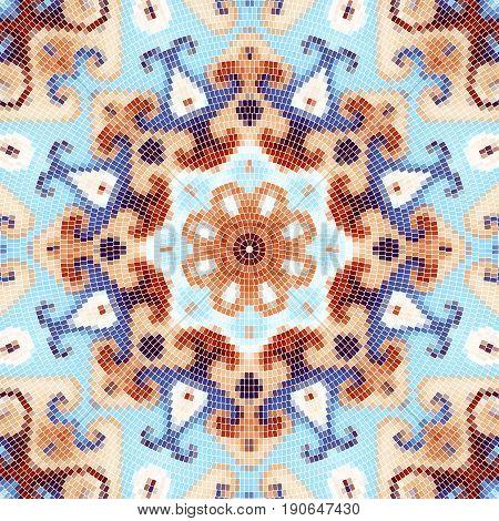 Seamless background pattern. Decorative round mosaic art pattern. Gamma of pastel colors.