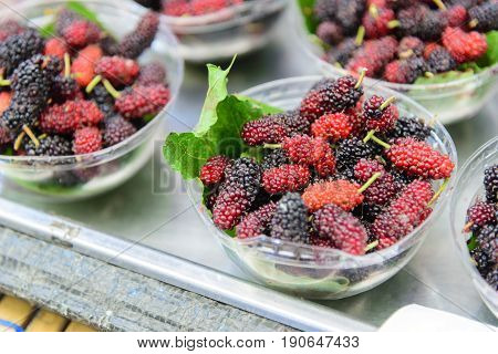 The mulberry fruit in the blow with the mulberry leaf.Healthy fruit for modern life