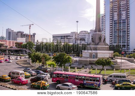 BANGKOK, THAILAND - JUNE 3, 2017 : View of the Victory Monument the big military monument.