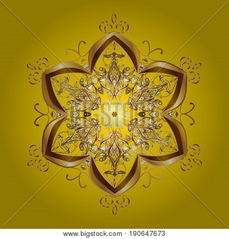 Vector Christmas golden snowflakes with doodles and dots on yellow background. Abstract border. Vector pattern Christmas background. Winter boarder.