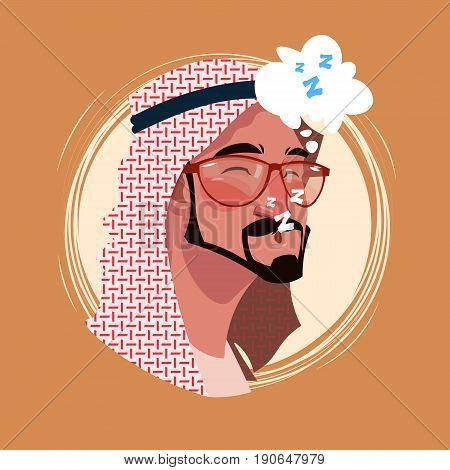 Profile Icon Indian Male Emotion Avatar, Man Cartoon Portrait Tired Sleeping Face Flat Vector Illustration