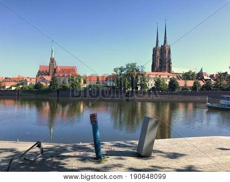 View to Ostrow Tumski, Wroclaw, Poland.