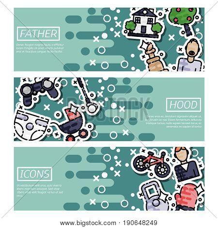 Set of Horizontal Banners about fatherhood. Vector illustration, EPS 10