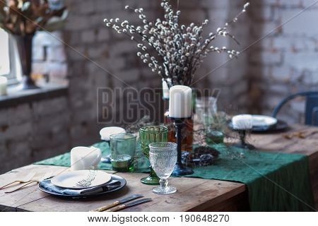 romantic dinning rustic table set vintage glass