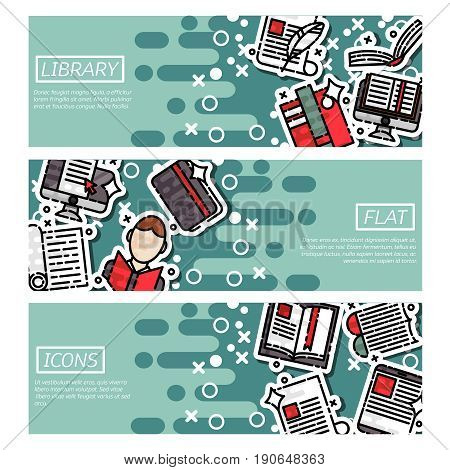 Set of Horizontal Banners about library. Vector illustration, EPS 10