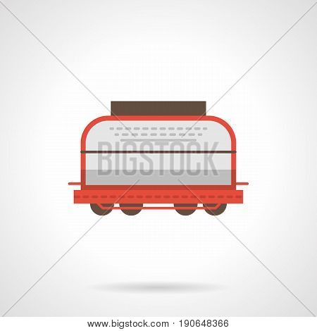 Abstract symbol of white universal rail boxcar. Railroad transportation and logistics. Flat color style vector icon.
