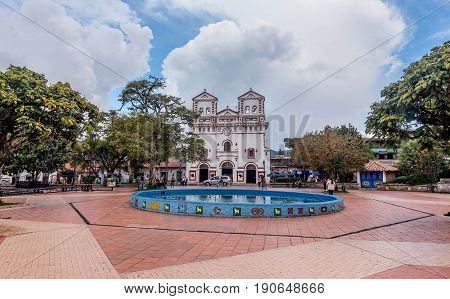 Guatape, Colombia- March 6, 2017:Church of Our Lady of Carmen in Guatape Colombia