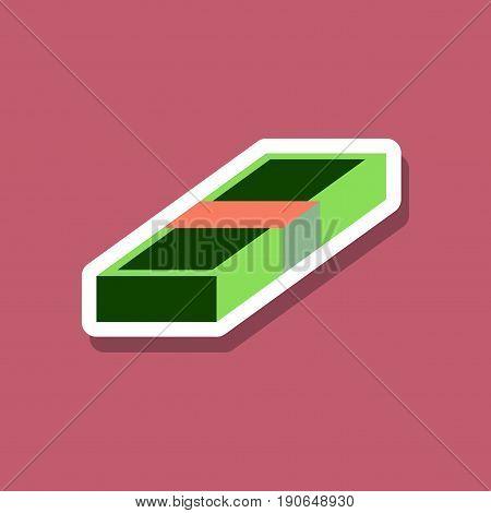 paper sticker on stylish background Bundle of money