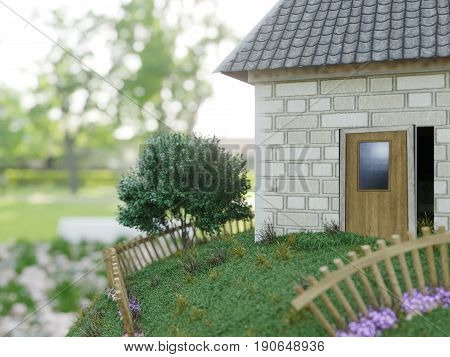 toy house from paper close up real estate business concept photo
