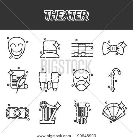 Theater icons set, drama, comedy, curtain and mask, tragedy Vector illustration