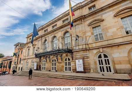 Bogota, Colombia- March 9, 2017: Colon Theater in the Candelaria neighborhood in Bogota Colombia