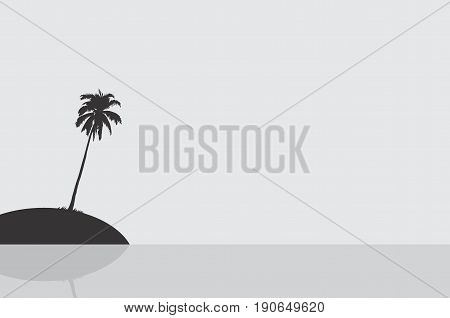 Silhouette of an island with a single coconut tree. Vector Illustration.