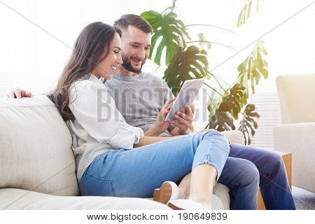 Wide shot of lovely pair sitting on sofa and surfing in tablet in sunny room