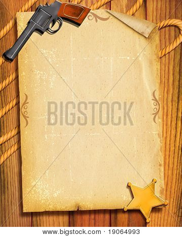Cowboy Old Paper Background With Gun And Sheriff Star