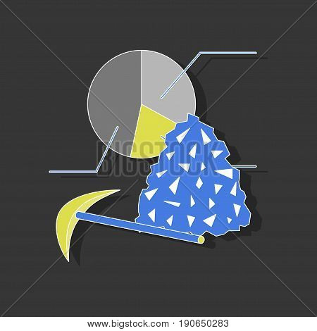 paper sticker on stylish background Coal and hammer Infographic