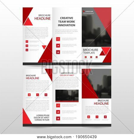 Red triangle business trifold Leaflet Brochure Flyer report template vector minimal flat design set abstract three fold presentation layout templates a4 size