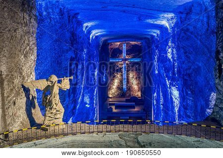 Bogota, Colombia- March 9, 2017:Cross and Thombstone in Zipaquira Salt Cathedral Colombia