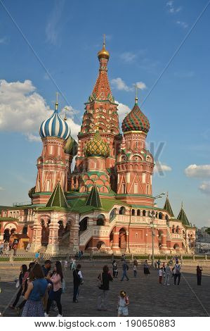 St. Basil's Cathedral in Moscow. Pokrovsky Cathedral on the Red Square of the capital of Russia.