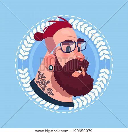 Profile Icon Male Emotion Avatar, Hipster Man Cartoon Portrait Shocked Face Flat Vector Illustration