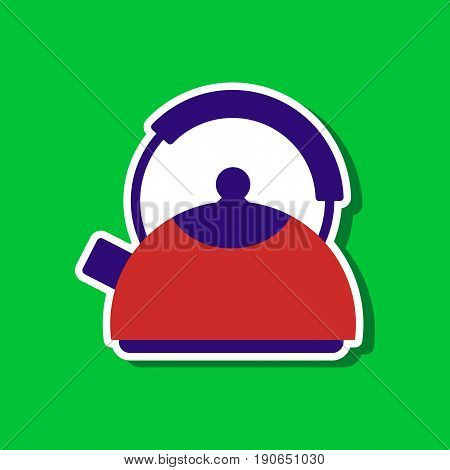 paper sticker on stylish background of dishware kettle