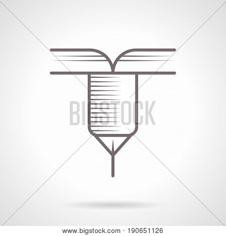 Outline symbol of CNC machine laser tool. Industrial machines and modern technology. Vintage design vector icon.
