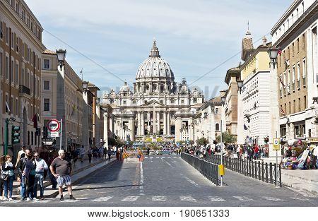 Rome, Italy - April 17, 2017: Basilica di San Pietro, Vatican City, Rome, Italy